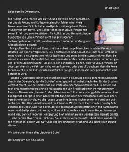 Ausführlicher Brief der Schule an die Familie